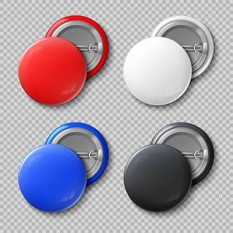 Advertise blank color round metal buttons or badges isolated set.