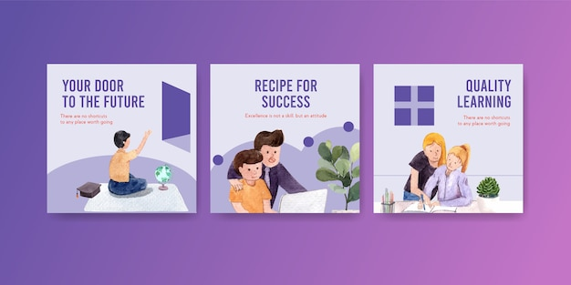 オンライン学習コンセプトデザイン、リーフレット、小冊子の水彩画を宣伝します。
