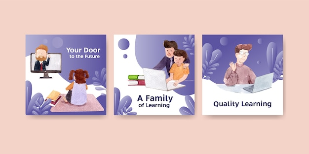 Advertise online learning concept design, leaflet and booklet watercolor