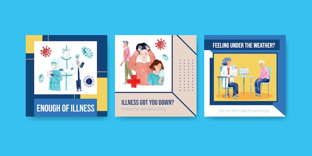 病気や医療の水彩ベクトルに関する情報を広告やパンフレットのデザイン