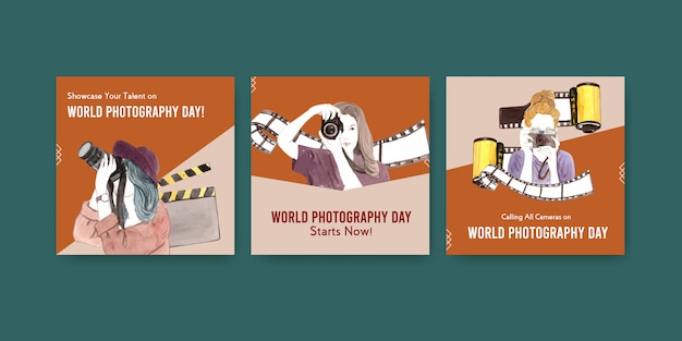 Advertise template design with world photography day for leaflet and brochure