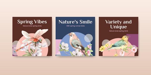 Pubblicizza il set di modelli con uccelli e concetto di primavera