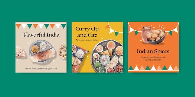 Pubblicizza un set di modelli con cibo indiano