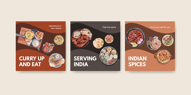 Advertise template set with indian food