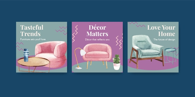Advertise template set with luxury furniture in watercolor style