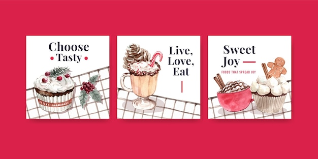 Pubblicizza il set di modelli con dolci invernali in stile acquerello