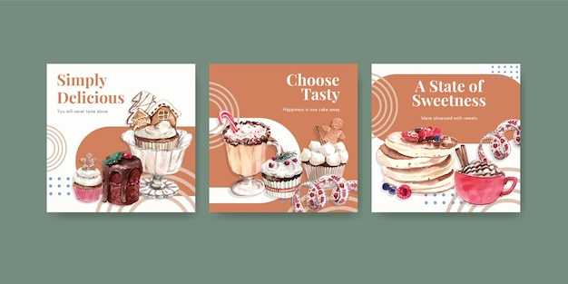 Advertise template set with winter sweets in watercolor style