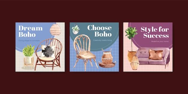 Pubblicizza il modello con il concept design di mobili boho per l'illustrazione dell'acquerello di marketing