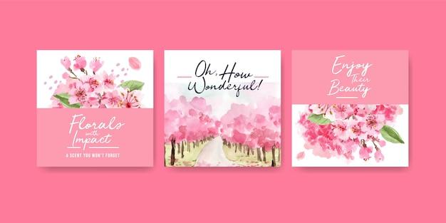 Pubblicizza il modello con il concept design dei fiori di ciliegio per l'illustrazione dell'acquerello di affari e marketing