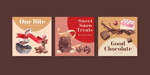 Рекламный шаблон с шоколадом