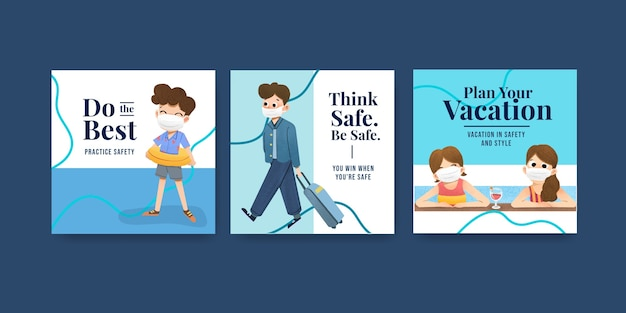 Рекламный шаблон с концепцией профилактики covid-19 для нового нормального образа жизни.