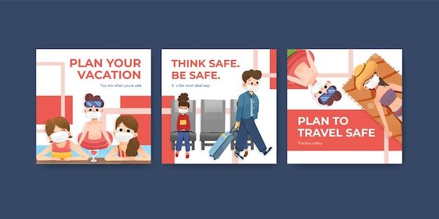 Pubblicizza il modello con il concept design di prevenzione covid-19 per un nuovo stile di vita normale.