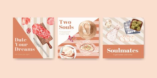 水彩イラストをマーケティングするためのヨーロッパのピクニックコンセプトデザインでテンプレートを宣伝します。