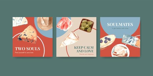 Pubblicizza il modello con il concept design di picnic europeo per l'illustrazione dell'acquerello di marketing.