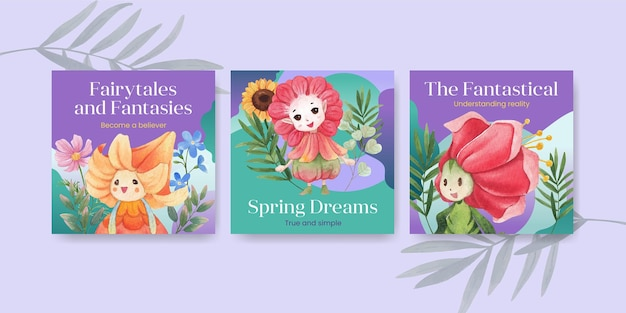 Advertise template with floral character concept  watercolor illustration