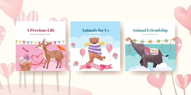 Advertise template with happy animals concept  watercolor illustration