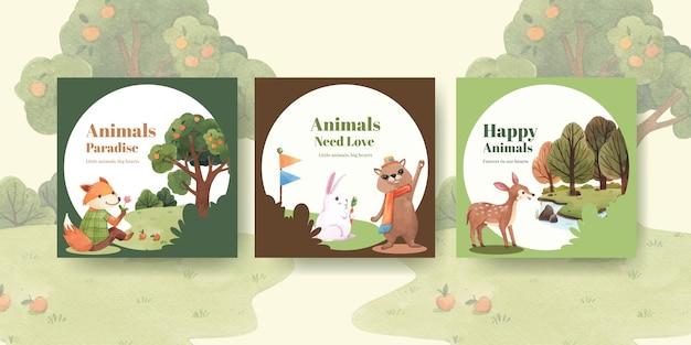 Рекламируйте шаблон с акварельной иллюстрацией концепции счастливых животных