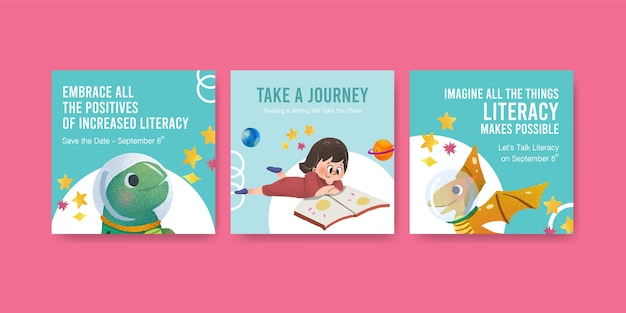 Advertise template with international literacy day concept design for business marketing watercolor.