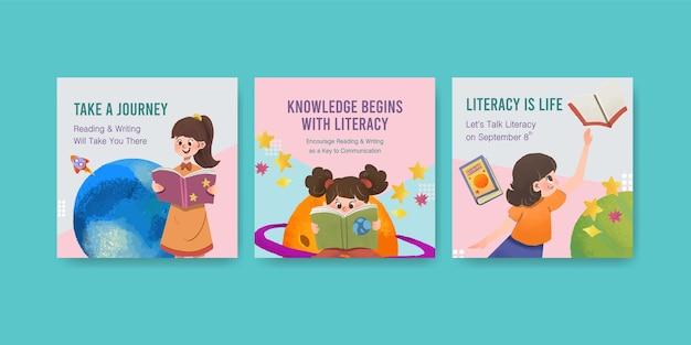 Рекламируйте шаблон с концептуальным дизайном международного дня грамотности для акварели бизнес-маркетинга.