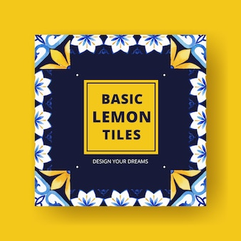 비즈니스 마케팅 수채화를위한 이탈리아 타일 컨셉 디자인 템플릿 광고