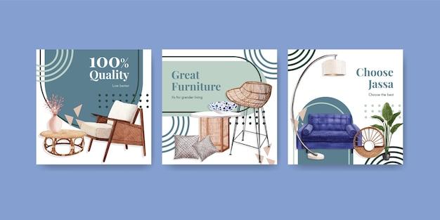 Рекламный шаблон с концептуальным дизайном мебели jassa для рекламы и маркетинга акварельной векторной иллюстрации