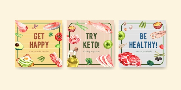 マーケティングのためのケトン食療法の概念と水彩イラストの広告でテンプレートを宣伝します。