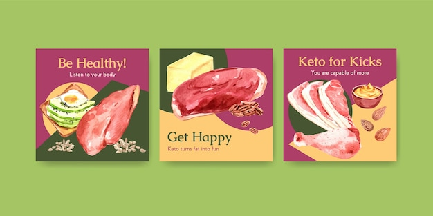 Advertise template with ketogenic diet concept for marketing and ads watercolor illustration.