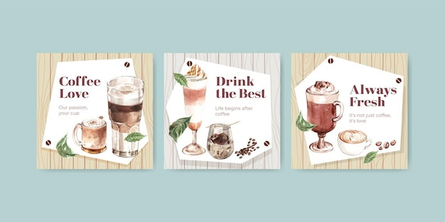 Advertise template with korean coffee style  concept for business and marketing watercolor