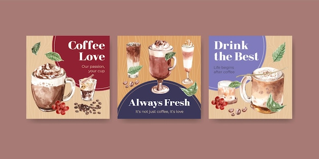 ビジネスとマーケティングの水彩画のための韓国のコーヒースタイルのコンセプトでテンプレートを宣伝する