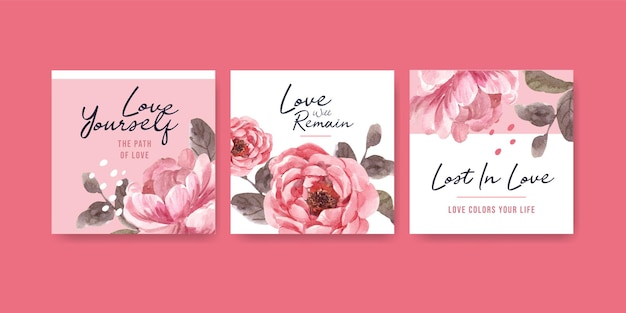 Advertise template with love blooming concept design for business and marketing watercolor illustration