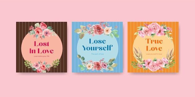 Рекламируйте шаблон с цветущей любовью концептуального дизайна для бизнеса и маркетинга акварельной иллюстрацией