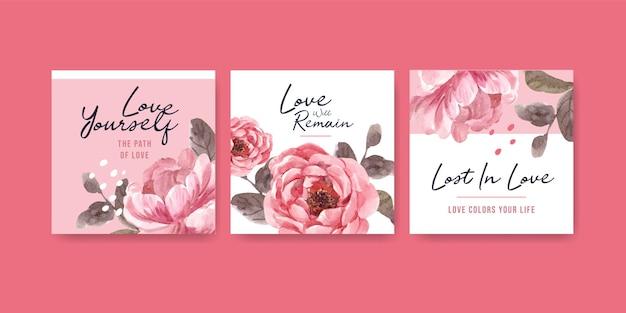 ビジネスとマーケティングの水彩イラストのための愛が咲くコンセプトデザインでテンプレートを宣伝する