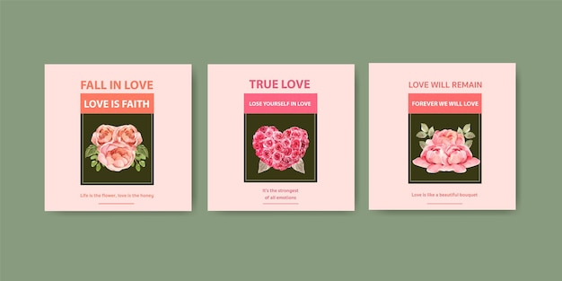 비즈니스 및 마케팅 수채화 그림에 대 한 개념 디자인을 피 사랑 템플릿 광고