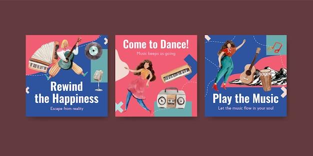 Pubblicizza il modello con il concept design del festival musicale per gli annunci e l'illustrazione vettoriale dell'acquerello di marketing
