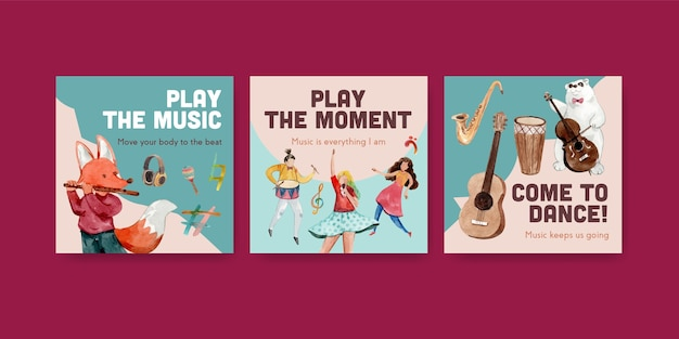 Рекламный шаблон с концептуальным дизайном музыкального фестиваля для рекламы и маркетинга акварель векторные иллюстрации