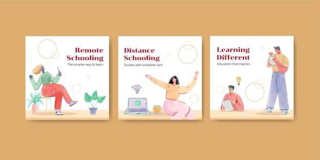 オンライン学習の概念でテンプレートを宣伝する