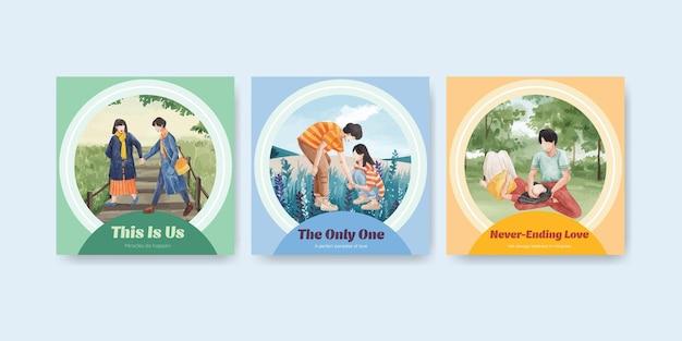 Рекламный шаблон с концептуальным дизайном райской любви для бизнеса и маркетинга акварельной иллюстрацией
