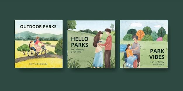 Pubblicizza il modello con l'illustrazione dell'acquerello di progettazione di concetto di famiglia e del parco
