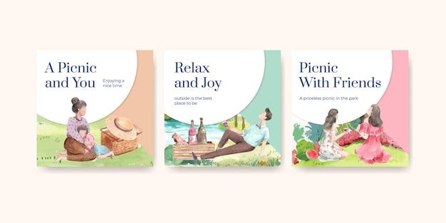 Рекламируйте шаблон с концепцией путешествия на пикник для маркетинговой акварельной иллюстрации