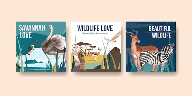 Advertise template with savannah wildlife concept  watercolor illustration
