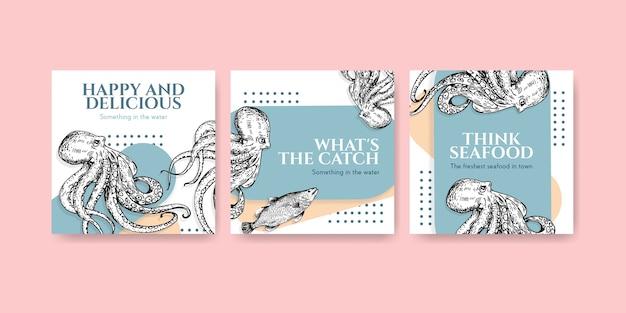 Pubblicizza il modello con il concept design dei frutti di mare per l'illustrazione di marketing