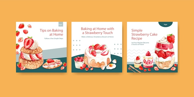 Advertise template with strawberry baking design for brochure with cupcake, cheesecake and shortcake watercolor illustration