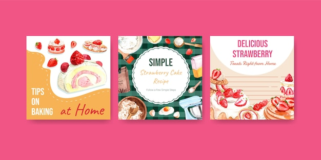 Pubblicizzare il modello con il design di cottura delle fragole per brochure con crepes alla fragola, cialde, parfait di crostate, frittelle, rotolo di gelatina e delizia cheesecake illustrazione ad acquerello