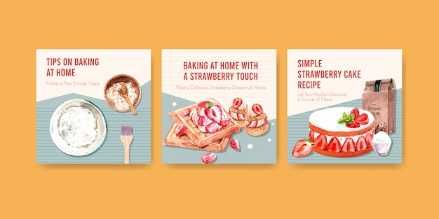 Advertise template with strawberry baking design with ingredients, strawberry waffles, shortcake parfait and cream ganache watercolor illustration