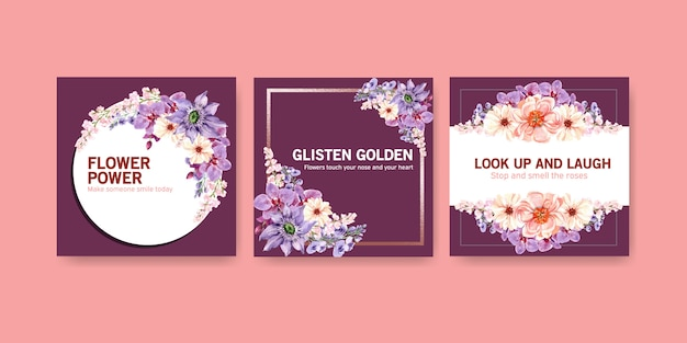 Advertise template with summer flower design watercolor