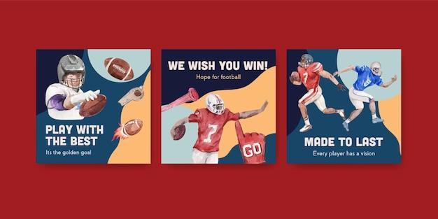수채화 벡터 일러스트 레이 션 마케팅에 대 한 슈퍼 볼 스포츠 컨셉 디자인 템플릿을 광고합니다.
