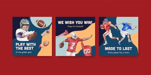 Pubblicizza il modello con il concept design sportivo del super bowl per l'illustrazione vettoriale dell'acquerello di marketing.