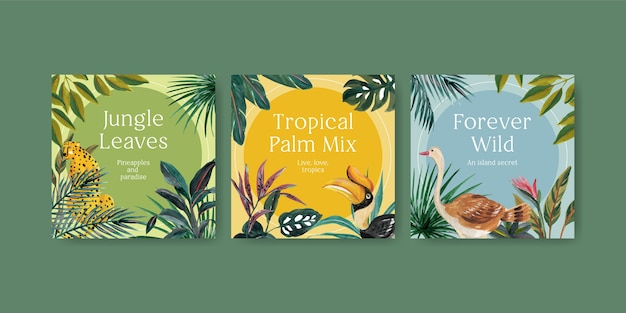 수채화 그림 마케팅에 대 한 열 대 현대 컨셉 디자인 템플릿 광고