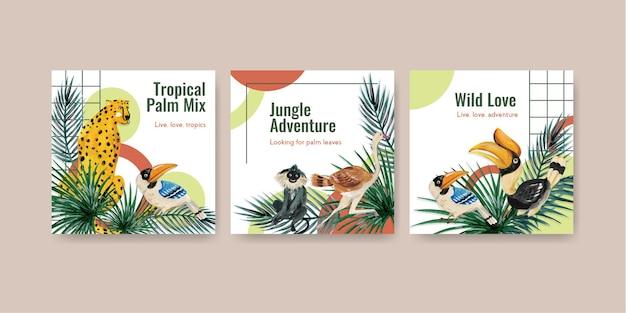 水彩イラストをマーケティングするための熱帯の現代的なコンセプトデザインでテンプレートを宣伝する