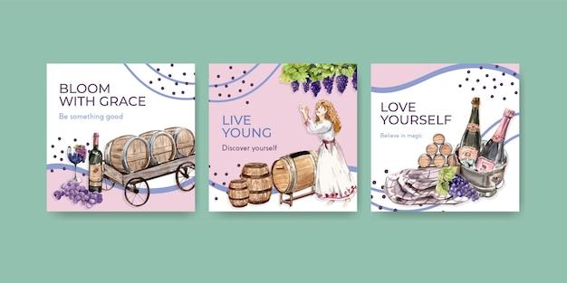 Рекламируйте шаблон с концептуальным дизайном винной фермы для маркетинговой акварельной иллюстрации.